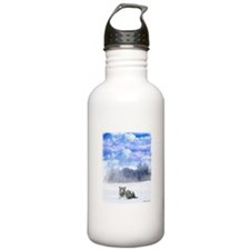 White Tiger in Snow Water Bottle