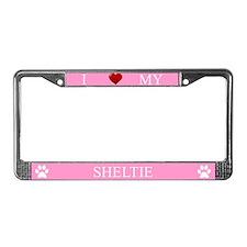 Pink I Love My Sheltie Frame