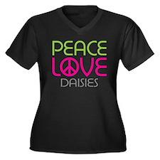 Peace Love Daisies Women's Plus Size V-Neck Dark T