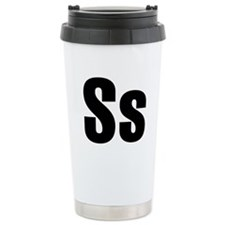 S Helvetica Alphabet Ceramic Travel Mug