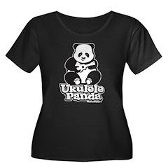 Ukulele Panda Women's Plus Size Scoop Neck Dark T-