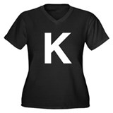K Helvetica Alphabet Women's Plus Size V-Neck Dark