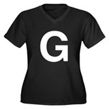 G Helvetica Alphabet Women's Plus Size V-Neck Dark