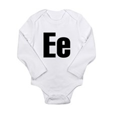 E Helvetica Alphabet Long Sleeve Infant Bodysuit