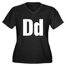 D Helvetica Alphabet Women's Plus Size V-Neck Dark