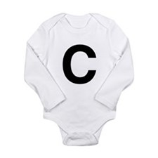 C Helvetica Alphabet Long Sleeve Infant Bodysuit