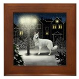 German Shepherd DogSnow Framed Tile