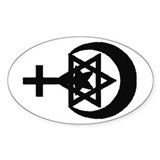 StarCrossCrescent Oval Decal