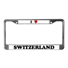 I Love Switzerland License Plate Frame