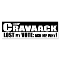 Chip Cravaack Lost my Vote bumper sticker