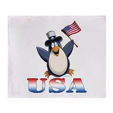 American Penguin Throw Blanket