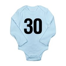 Number 30 Helvetica Long Sleeve Infant Bodysuit