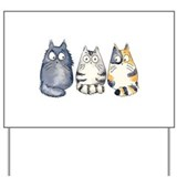 Three 3 Cats Yard Sign