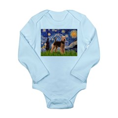 Starry Night - Airedale #6 Long Sleeve Infant Body
