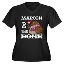 Maroon 2 The Bone Women's Plus Size V-Neck Dark T-