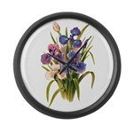 Japanese Irises Large Wall Clock
