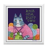 KNIT 1 PURR 2...Ceramic Art Tile Coaster