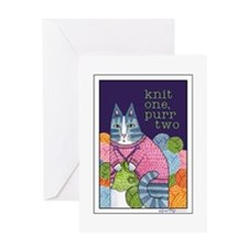 KNIT 1 PURR 2... Blank Greeting Card