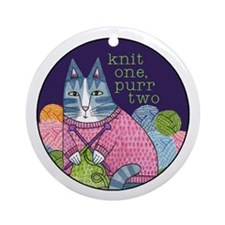 KNIT 1 PURR 2...Porcelain Ornament - with Ribbon