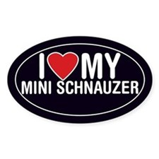 I Love My Miniature Schnauzer Oval Sticker/Decal