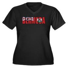 Bermuda Women's Plus Size V-Neck Dark T-Shirt