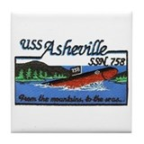 USS Asheville SSN 758 Tile Coaster