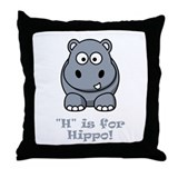 H is for Hippo! Throw Pillow