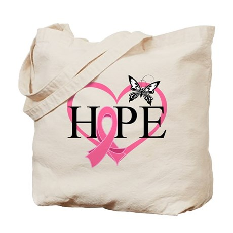 Breast Cancer Heart Decor Tote Bag