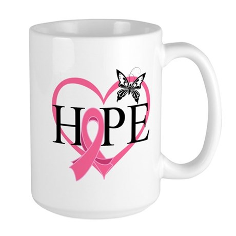 Breast Cancer Heart Decor Large Mug