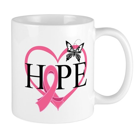 Breast Cancer Heart Decor Mug