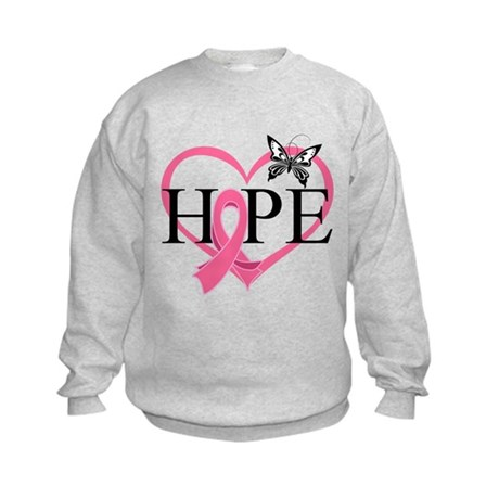 Breast Cancer Heart Decor Kids Sweatshirt