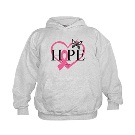 Breast Cancer Heart Decor Kids Hoodie