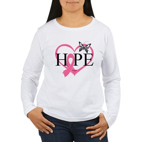 Breast Cancer Heart Decor Women's Long Sleeve T-Sh