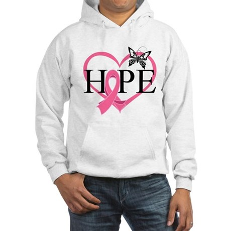Breast Cancer Heart Decor Hooded Sweatshirt