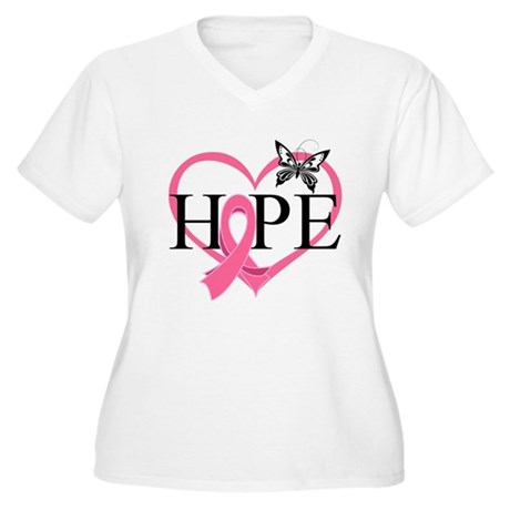 Breast Cancer Heart Decor Women's Plus Size V-Neck