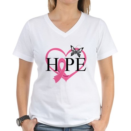 Breast Cancer Heart Decor Women's V-Neck T-Shirt
