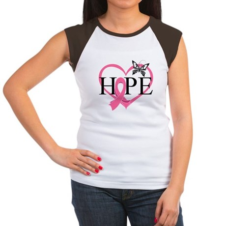 Breast Cancer Heart Decor Women's Cap Sleeve T-Shi