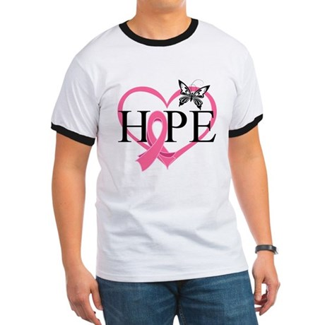 Breast Cancer Heart Decor Ringer T