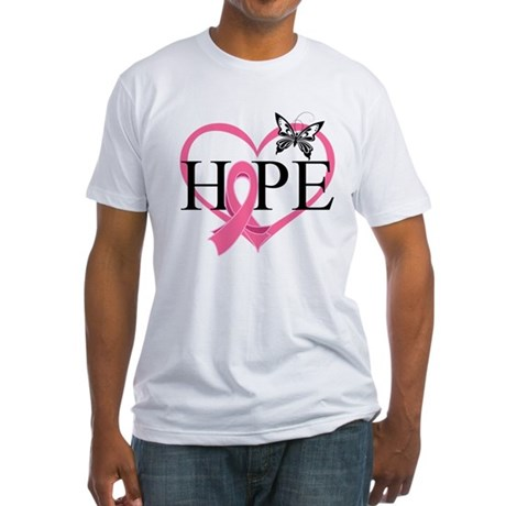 Breast Cancer Heart Decor Fitted T-Shirt