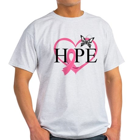 Breast Cancer Heart Decor Light T-Shirt