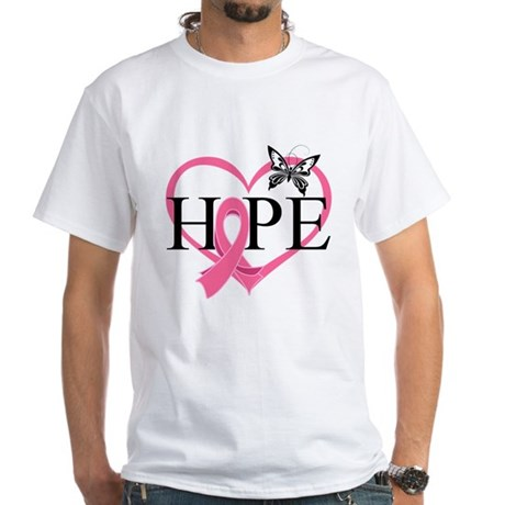 Breast Cancer Heart Decor White T-Shirt