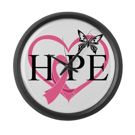 Breast Cancer Heart Decor Large Wall Clock