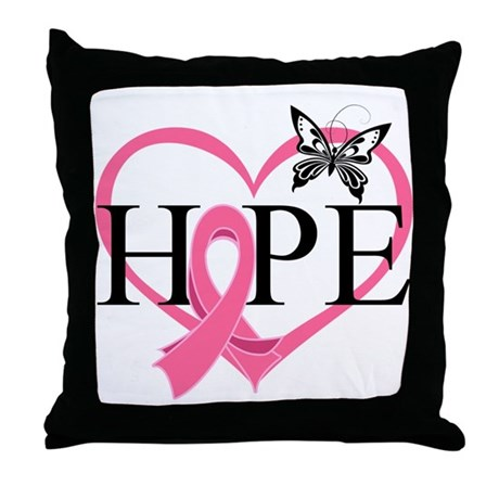 Breast Cancer Heart Decor Throw Pillow
