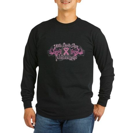 Breast Cancer FaithLoveHope Long Sleeve Dark T-Shi