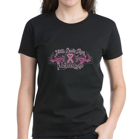 Breast Cancer FaithLoveHope Women's Dark T-Shirt