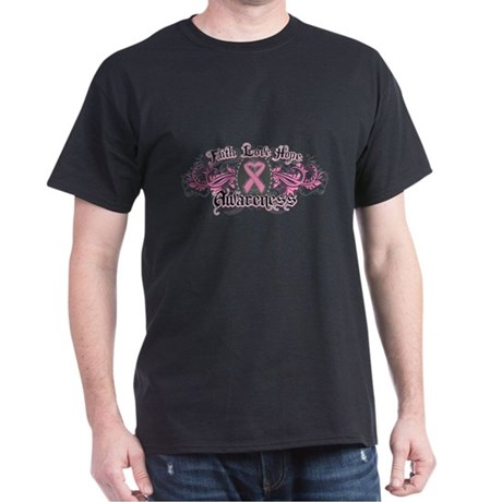 Breast Cancer FaithLoveHope Dark T-Shirt