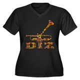 DIZ Women's Plus Size V-Neck Dark T-Shirt