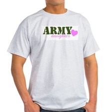 Army Daughter Green & Heart Ash Grey T-Shirt
