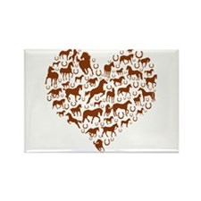 Horses & Ponies Heart Rectangle Magnet (10 pack)