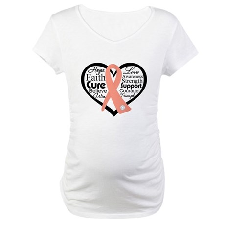 Uterine Cancer Heart Maternity T-Shirt